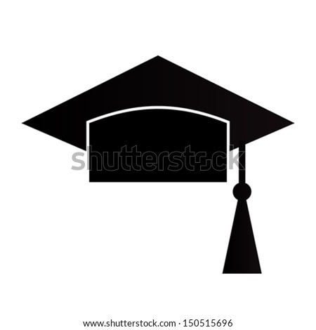 Mortar Board or Graduation Cap isolated on a white background - stock vector
