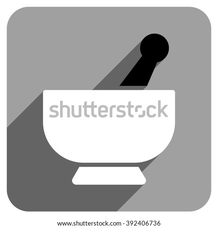 Mortar long shadow vector icon. Style is a flat mortar iconic symbol on a gray square background. - stock vector