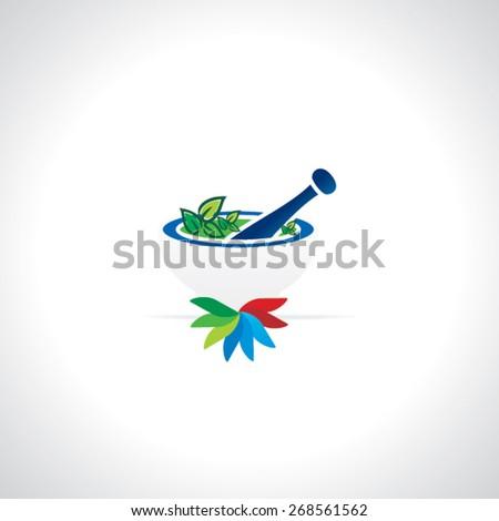 mortar pastel with medicine leaf vector illustration  - stock vector