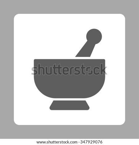 Mortar vector icon. Style is flat rounded square button, dark gray and white colors, silver background. - stock vector
