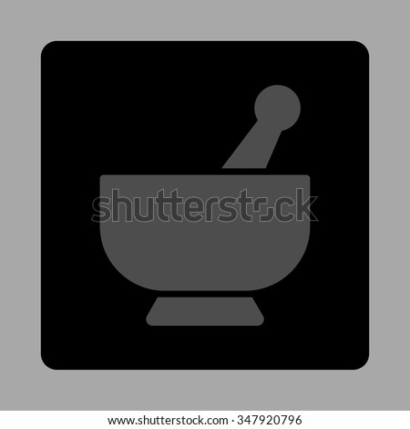 Mortar vector icon. Style is flat rounded square button, gray and black colors, silver background. - stock vector