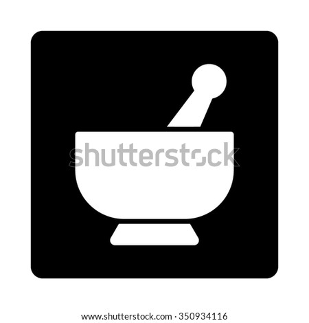 Mortar vector icon. Style is flat rounded square button, white and black colors, white background. - stock vector