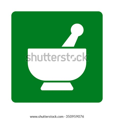 Mortar vector icon. Style is flat rounded square button, white and green colors, white background. - stock vector