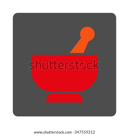 Mortar vector icon. Style is flat rounded square silver button with red symbol, white background. - stock vector