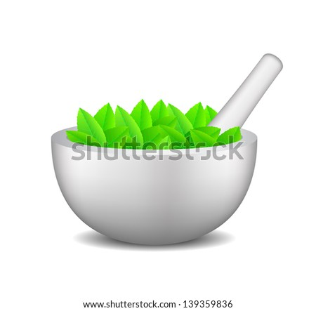 Mortar with pestle and leaves - stock vector