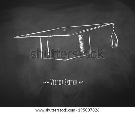 Mortarboard / graduation cap drawn on chalkboard. Vector art. - stock vector