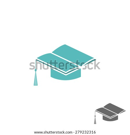 Mortarboard square academic cap and book logo, university or college sign - stock vector