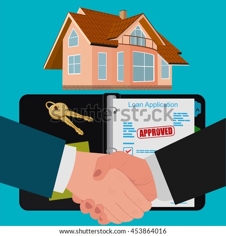 mortgage contract concept, flat design, vector illustration - stock vector