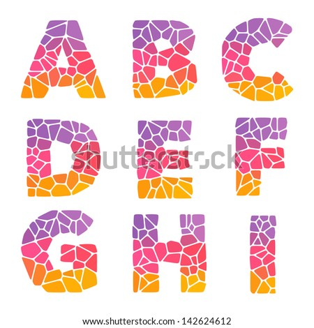 Mosaic colorful alphabet set. A-I pack. Vector illustration with a white background - stock vector