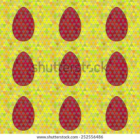 Mosaic Easter colorful seamless pattern with eggs. Ideal for decoration wallpaper, pattern fills, web page background, surface textures, and textiles. - stock vector
