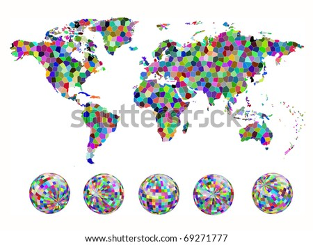 Mosaic map and globe of the world. EPS10 vector illustration. - stock vector