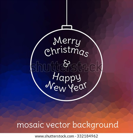 Mosaic pattern vector christmas blue purple background. Happy new year. Merry Christmas.