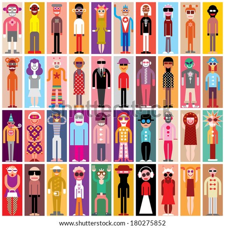 Mosaic portraits - large group of people in masquerade suits. - stock vector