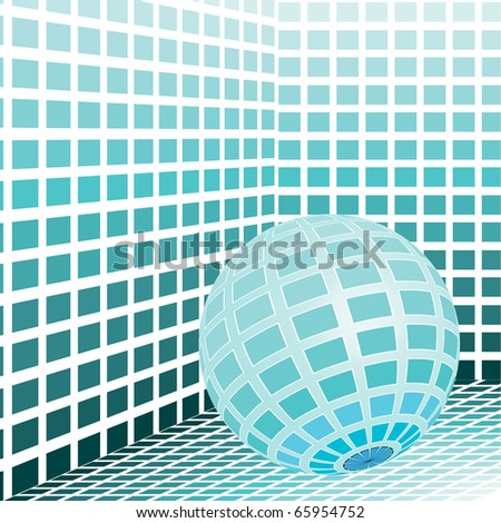 mosaic room with globe - stock vector