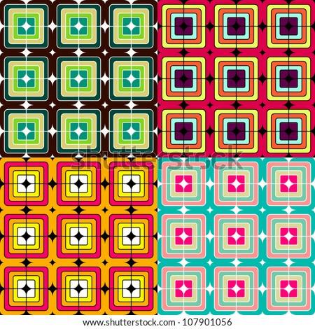Mosaic seamless  pattern - stock vector