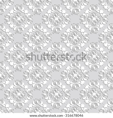Mosaic seamless pattern of geometric shapes for printing on fabrics and wallpaper.3D elements with shadows and highlights. Paper cut. - stock vector