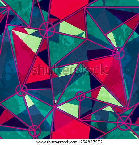 mosaic seamless pattern with grunge effect - stock vector
