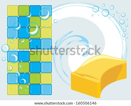 Mosaic tiles and sponge with soapy bubbles on the abstract background. Vector - stock vector
