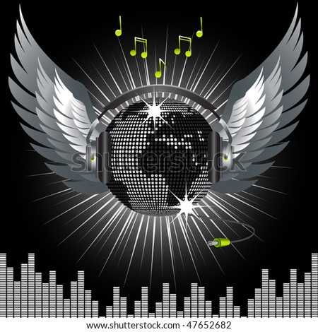 Mosaic world globe disco ball with headphones, wings and jack - stock vector