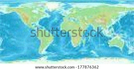 Mosaic world map - vector version - stock vector