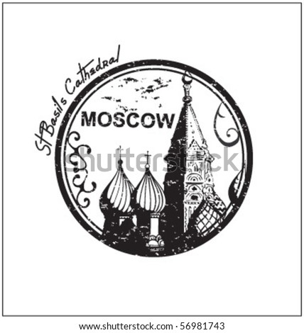 moscow stamp - stock vector