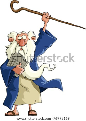 Moses on a white background, vector illustration - stock vector