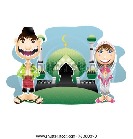 moslem islam day - stock vector