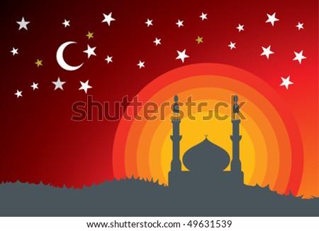 mosque - stock vector