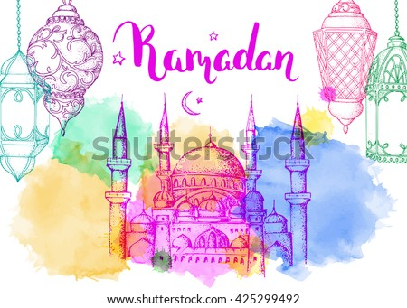 Mosque at night. Ramadan Kareem. Arabic lanterns. Bright vector watercolor background. Ink hand drawn inscription. Typography. Brush lettering. Calligraphy. Ramadan greeting card. Pink sunset.