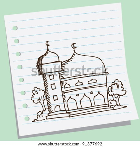 mosque doodle sketch illustration