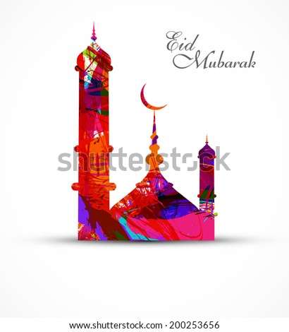 Mosque for grunge colorful eid mubarak card vector illustration  - stock vector