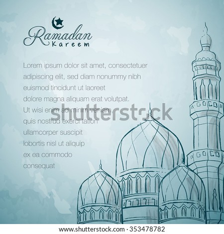 Mosque ink sketch islamic greeting background Ramadan Kareem - Translation of text : Ramadan Kareem - May Generosity Bless you during the holy month - stock vector