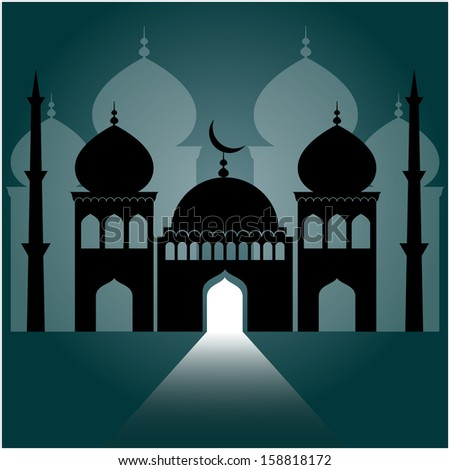 mosque on dark blue background with light ray from the door.  - stock vector