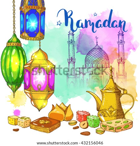 Mosque. Traditional arabic halal food, teapot and lanterns. Vector watercolor background. Eastern bakery and sweets. Ink hand drawn inscription Ramadan Kareem. Brush lettering. Calligraphy.