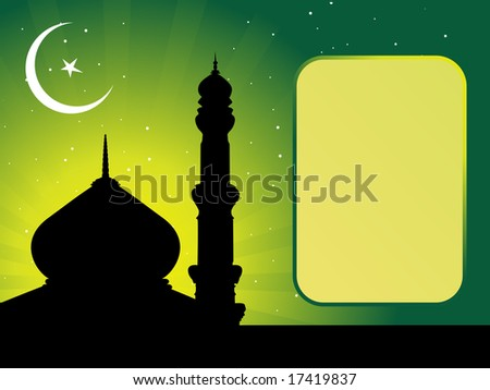 mosques in the moon night sky with frame for the text - stock vector