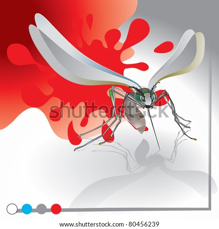 Mosquito angry - stock vector