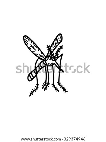 mosquito cartoon - stock vector