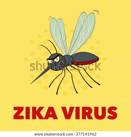 Mosquito Cartoon Character Flying. Vector Illustration With Background With Text Zika Virus