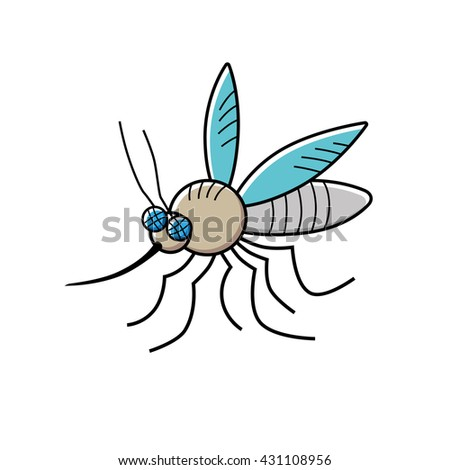 Mosquito cartoon vector icon isolated.