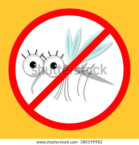 Mosquito. Cute cartoon funny character. Insect collection. Red stop sign icon. Yellow background. Flat design. Vector illustration - stock vector
