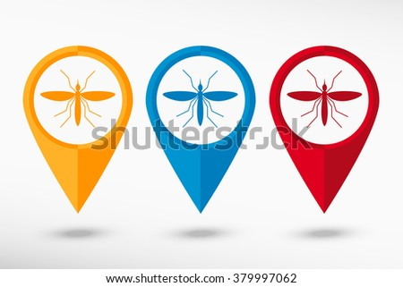 Mosquito map pointer, vector illustration.  Malaria, Zika virus concept. Infected mosquito vector image.  Attention insect symbol. Flat design style. - stock vector
