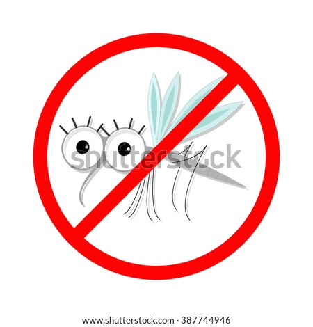 Mosquito. Red stop sign icon. Cute cartoon funny character. Insect collection.  White background. Isolated. Flat design. Vector illustration - stock vector