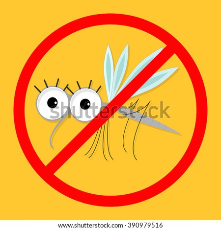 Mosquito. Red stop sign icon. Cute cartoon funny character. Insect collection.  Yellow background. Flat design. Vector illustration - stock vector