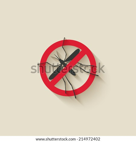 mosquito warning sign - vector illustration. eps 10 - stock vector