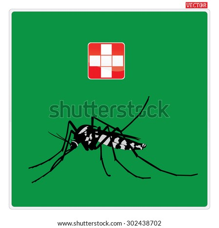 mosquitoes stop sign of a common house mosquito and red cross icon with green background. For the design and decorate your products. - stock vector