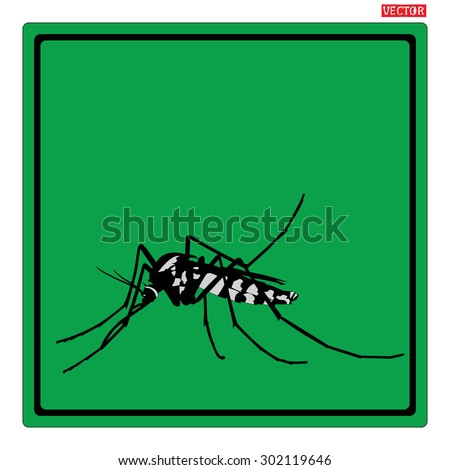 mosquitoes stop sign of a common house mosquito in Black frame with green background. design with space for adding text of your work. - stock vector