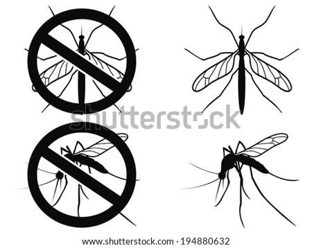 Mosquitoes warning symbol - stock vector