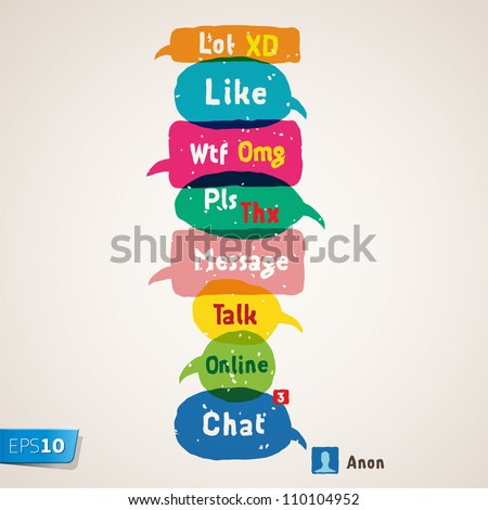 Most common used acronyms and abbreviations on multicolored speech bubbles, vector Eps10 illustration. - stock vector
