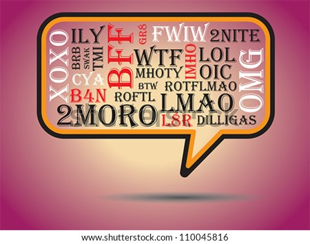 Most commonly used chat and online acronyms and abbreviations on a speech bubble. The acronyms included are wtf,brb,lol,imho,btw, rotfl,fyi,thx,asap,omg,afk,bff,swak,lmao,2moro,2nite,l8r,dilligas,tmi - stock vector