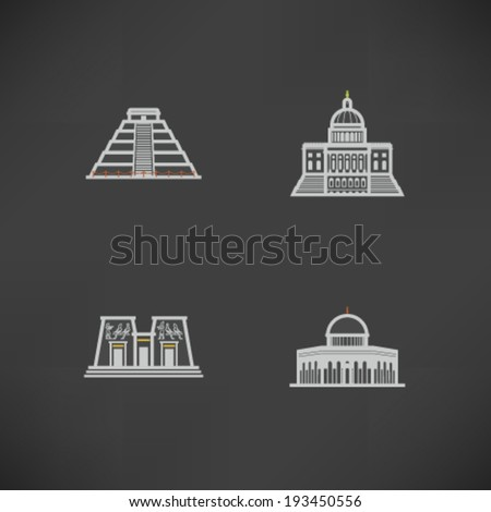 Most famous Architecture Landmarks Around the World - Chichen Itza (Peru), Capital (USA), Aswan Temple (Egypt), Dome of the Rock (Israel),  - stock vector
